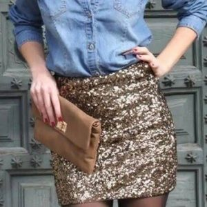 NWOT Gap women's sequins gold mini skirt